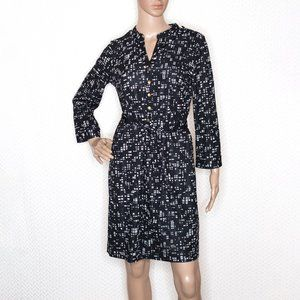 Express Black and White Dress with Tied Belt